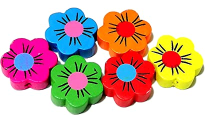 Goelx Wooden Flower Beads for Beading, Jewellery Making & Art Craft Work !! Size : 20mm X 6mm - Multicolour