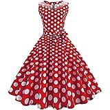 50er Vintage Kleider, Loveso ❤️ Damen Vintage Polka Dots A-linie Ohne Arm Rockabilly Kleid Cocktailkleider Swing Kleider 1950er Retro Sommerkleid