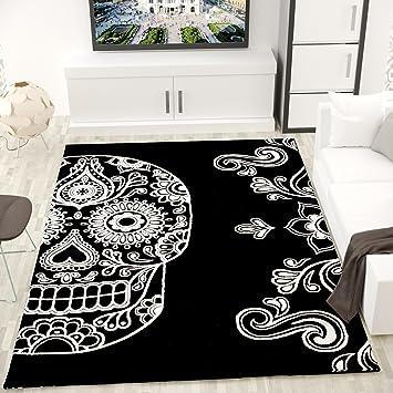 moderner wohnzimmer teppich schwarz wei kunstvoll totenkopf motiv vimoda mae120x170 cm - Wohnzimmer Teppich Schwarz Weis