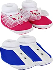 Neska Moda Pack of 2 Baby Boys & Girls Pink and Blue Cotton Booties for 0 to 12 Months-SK139andSK182
