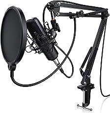 LIAM & DAAN Kondensatormikrofon + Mikrofonarm   Studiomikrofon-Set   Großmembran-Kondensatormikrofon + Mikrofonarm und -spinne + Popschutz + 2,5m 3,5mm Klinke zu XLR Kabel   Für Mischpult, Notebook, PC / Computer (Karaoke, Live Recording etc.)   Nierencharakteristik   Dual Screen Popschutz   Spezialisiert auf Podcasts / Livestreams