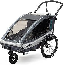 Qeridoo Sportrex 2 Deluxe (inkl. Sitzpolster) Kinder-Fahrradanhänger für 2 Kinder (mit einstellbarer Federung)