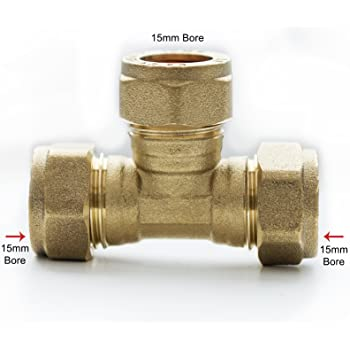 81cba3ad82 Bulk Hardware BH01541 Brass Compression Fittings Tee, 15mm: Amazon ...