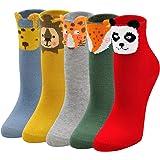 ZAKASA Kids Socks Cotton Cute School Socks Little Girls Boys Funky Animal Crew Socks(5 Pack)