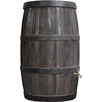 Regentonne rund Regenwassertank Burgund 500 Liter braun aus UV- und witterungsbeständigem Material. Regenfass bzw. Regenwassertonne mit kindersicherem Deckel und hochwertigen Messinganschlüssen