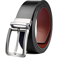 """Mens Reversible Leather Belt, BESTKEE Leather Belts for men 1.3"""" Wide with Rotated Buckle, Great for Jeans,Casual…"""