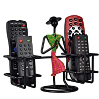D&V ENGINEERING - Creative in innovation Metal Remote Holder,Remote Stand,Remote Organizer,Table top Remote Holder Stand for ac tv DVD dth Remotes, showpiece Living Room Decor(4-Slot Green & Pink)