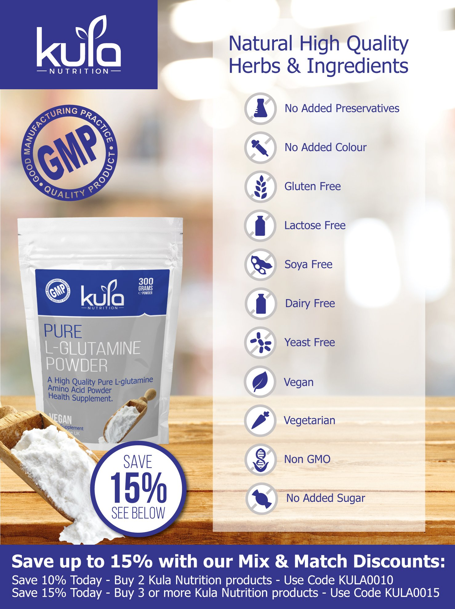 81d8URqiObL - Kula Nutrition Pure L Glutamine Powder - 300g (60 Servings) - Amino Acid Powder, Protein Building Blocks - Supplement…