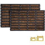 GadHome Felpudo Antideslizante Absorbente Resistente Lavable, Marrón Negra 45 x 75 cm | Alfombra de Entrada de Goma y Fibra N
