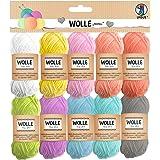 URSUS 56050099 Pelote de fils à tricoter pastel 100 % coton 10 couleurs pour tricot et crochet Taille unique