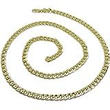 Never Say Never Collana da uomo in oro giallo 18 carati, tipo barbazzale, 5 mm di larghezza e 60 cm di lunghezza, con chiusur
