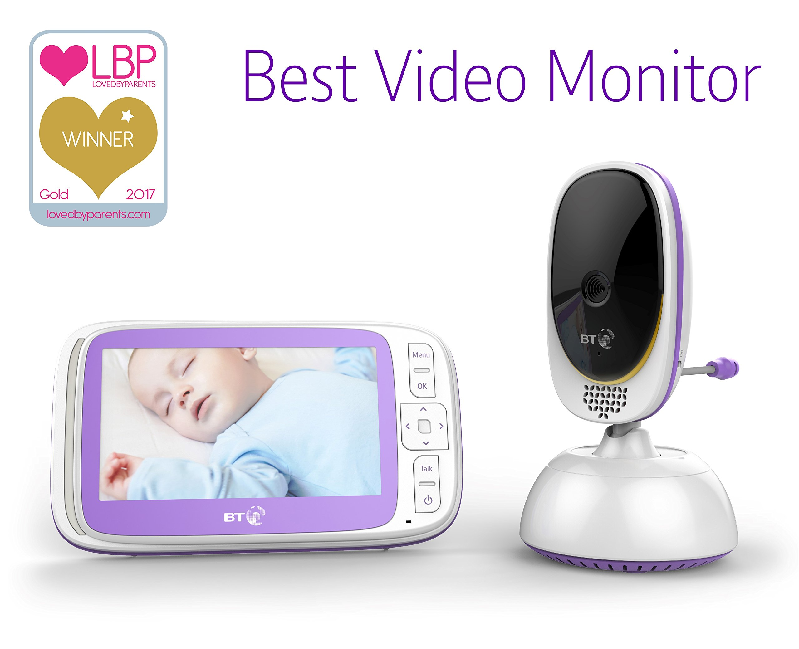 BT Video Baby Monitor 6000 BT 5 inch screen Temperature indication / 5 lullabies Remote control pan and tilt mechanism 6