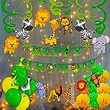 Party Propz Jungle Theme Birthday Decoration Boys-71Pcs Hawaiian Animals Safari Forest Banners Balloons Pompom Swirls Hanging