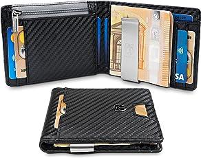 TRAVANDO ® Geldbeutel mit Geldklammer New York - Schlankes Portemonnaie Mit MÜNZFACH - 8 Kartenfächer - Carbon-Optik - RFID Schutz - Geschenk Box - Designed in Germany