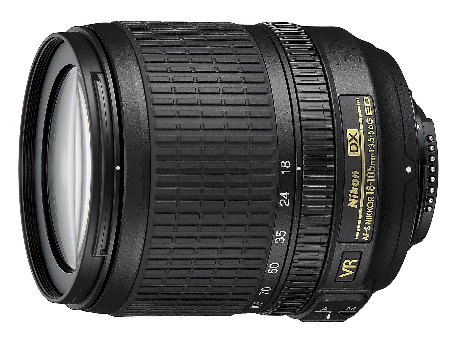 Nikon Obiettivo Nikkor AF-S DX 18-105 mm f/3.5-5.6G ED VR, Nero [Nital Card: 4 Anni di Garanzia]
