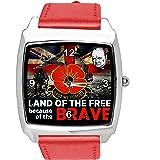 Reloj cuadrado de cuero rojo para fans de soldados británicos