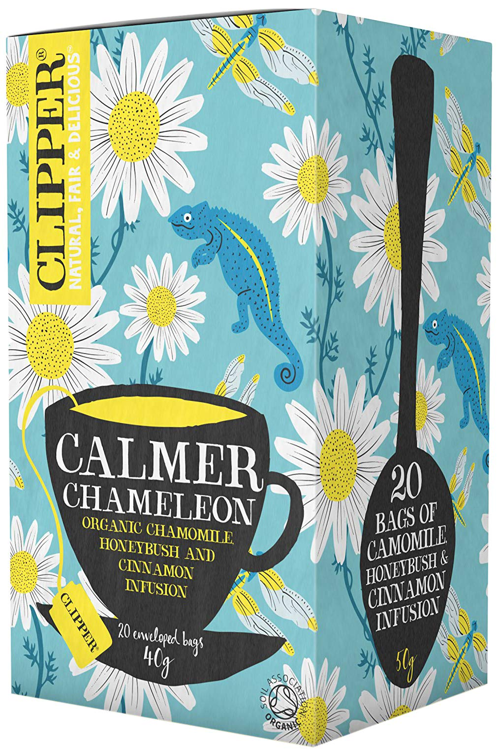 Clipper calmer chamelion tea bundle (soil association) (rooibos tea) (6 packs of 20 bags) (120 bags) (a fruity, spicy tea with aromas of camomile, cinnamon) (brews in 3-5 minutes)