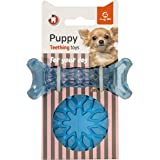 Goofy Tails Puppy Teething Toy | Dog Ball & Bone Chew Toy Combo | Small & Medium Breeds (Blue/Pink)