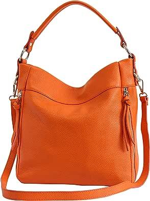 AmbraModa GL030 - Borsa italiana a spalla da donna in vera pelle, borsa a tracolla, borsa a mano da donna