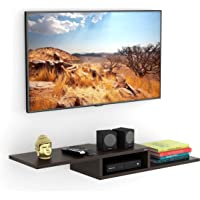 BLUEWUD Millie Wooden Wall Mounted TV Entertainment Unit Shelf/Set Top Box Stand (Wenge)