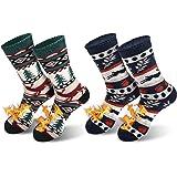 QINCAO Calcetines Térmicos Invierno Mujer Hombres 2 Pares de Navidad Calcetines Calor Suave Cómodo Largos (Talla Universal)