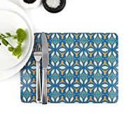 Blue Orange Moroccan Design Table Mat & Coaster set, Extra Large, 32x23cm, Blue Pattern Placemat, Dining Table Protector, Ikat African Design, Designed and Printed in England