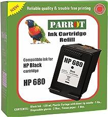 Parrot Brand HP 680 Black Ink Cartridge Refill for Deskjet Printers