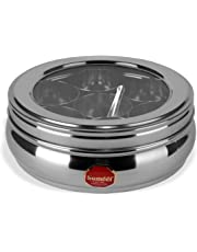 Sumeet Stainless Steel Belly Shape Masala (Spice) Box/Dabba/Organiser with See Through Lid with 7 Containers and Small Spoon (Medium)