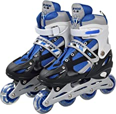 Plutofit® Aluminium Chassis Adjustable Inline Skating Shoes, Skates with LED