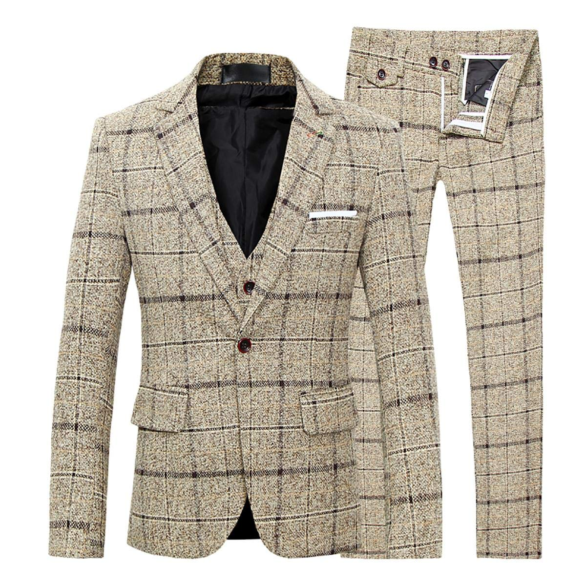 Men s Tweed Suits 3 Piece Slim Fit Plaid Suit Wedding Tuxedos Prom Party  Suit One-Button Herringbone Designer Check Vintage Blazer Jacket Waistcoat  Trousers ... f6ae3f27e74