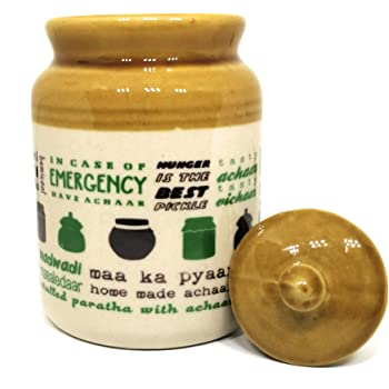 Ek Do Dhai Pickle Love Stoneware Jar with Lid, 600ml, Multicolour (Pick Jar)