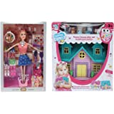 CADDLE & TOES™ Doll House for Girls / Doll Set with Pink Slippers Doll , 10 Sets of Fashion Accessories, Dress,earings…