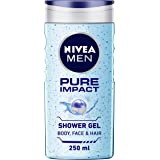 NIVEA Men Body Wash, Pure Impact with Purifying Micro Particles, Shower Gel for Body, Face & Hair, 250 ml