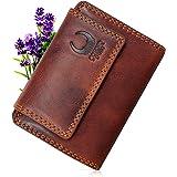 Corno d´Oro Portafoglio da donna in pelle vintage con protezione RFID con cerniera portamonete scomparti vari, marrone