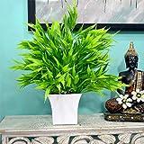 Fancy Mart Artificial Bamboo in Round Long Pot (32 cm, Green)