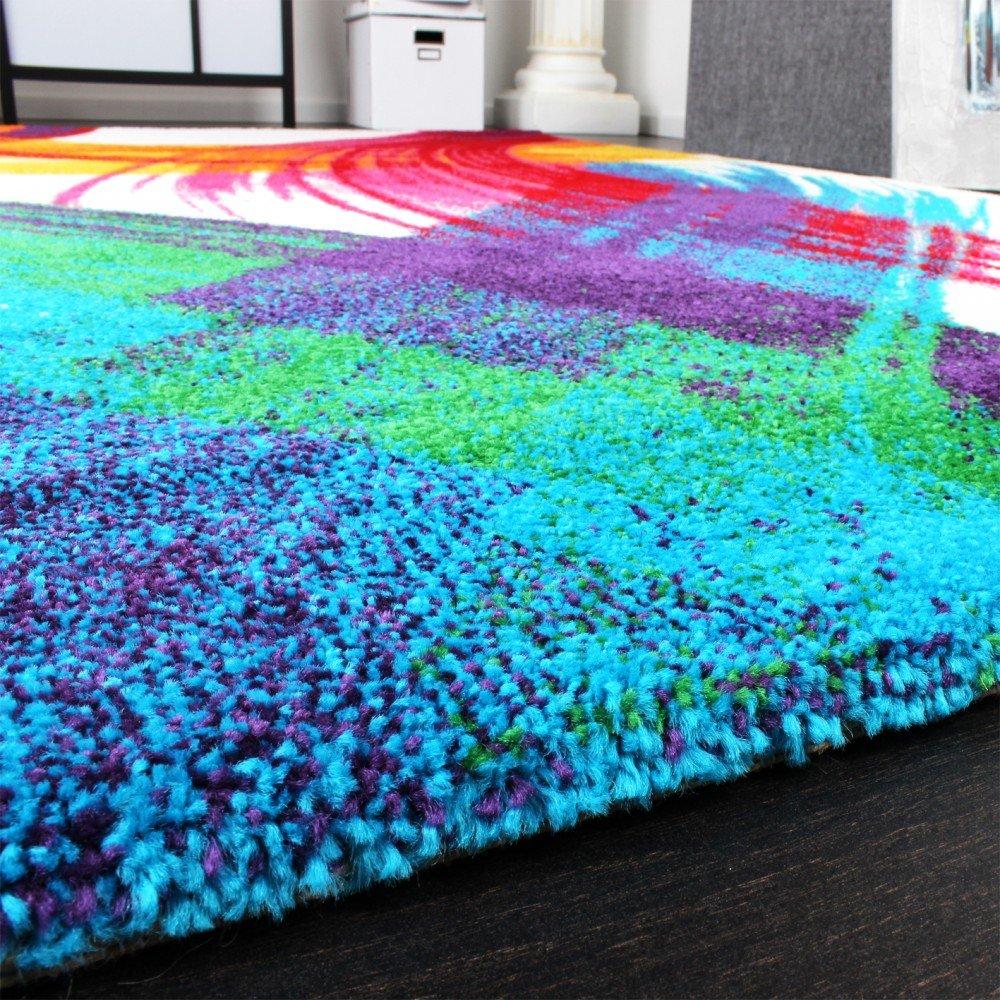Teppich bunt modern  Teppich Modern Bunt Teppich Splash Brush Leinwand Optik Creme Grün ...