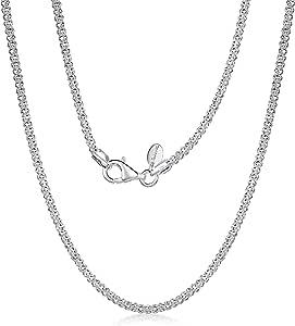 Amberta® Gioielli - Collanina - Catenina Argento Sterling 925 - Modello Pop Corn - Larghezza 2.5 mm - Lunghezza: 40 45 50 55 60 cm