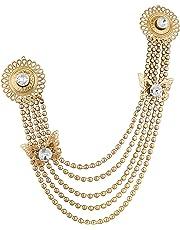 3d2fd85000e The Luxor Designer Patteren Inspired Golden and White Metal Unisex Brooch  for Women Saree Woman Kurti