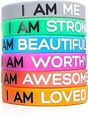 Solza Braccialetti in silicone motivazionali Set di 6 braccialetti in silicone, 6 colori e 6 messaggi diversi che daranno luce alla tua giornata | Taglia Unisex Adulti, 20 cm x 1,2 cm | Non tossic
