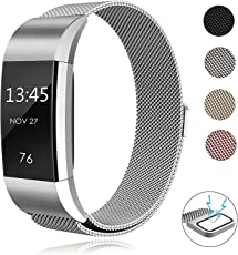 Sun studio Fitbit Charge 2 Armband, Milanese Fitbit Charge 2 Ersatzarmband Edelstahl Fitbit Armbänder Charge 2 mit Magnet-Verschluss Armband für Fitbit Charge