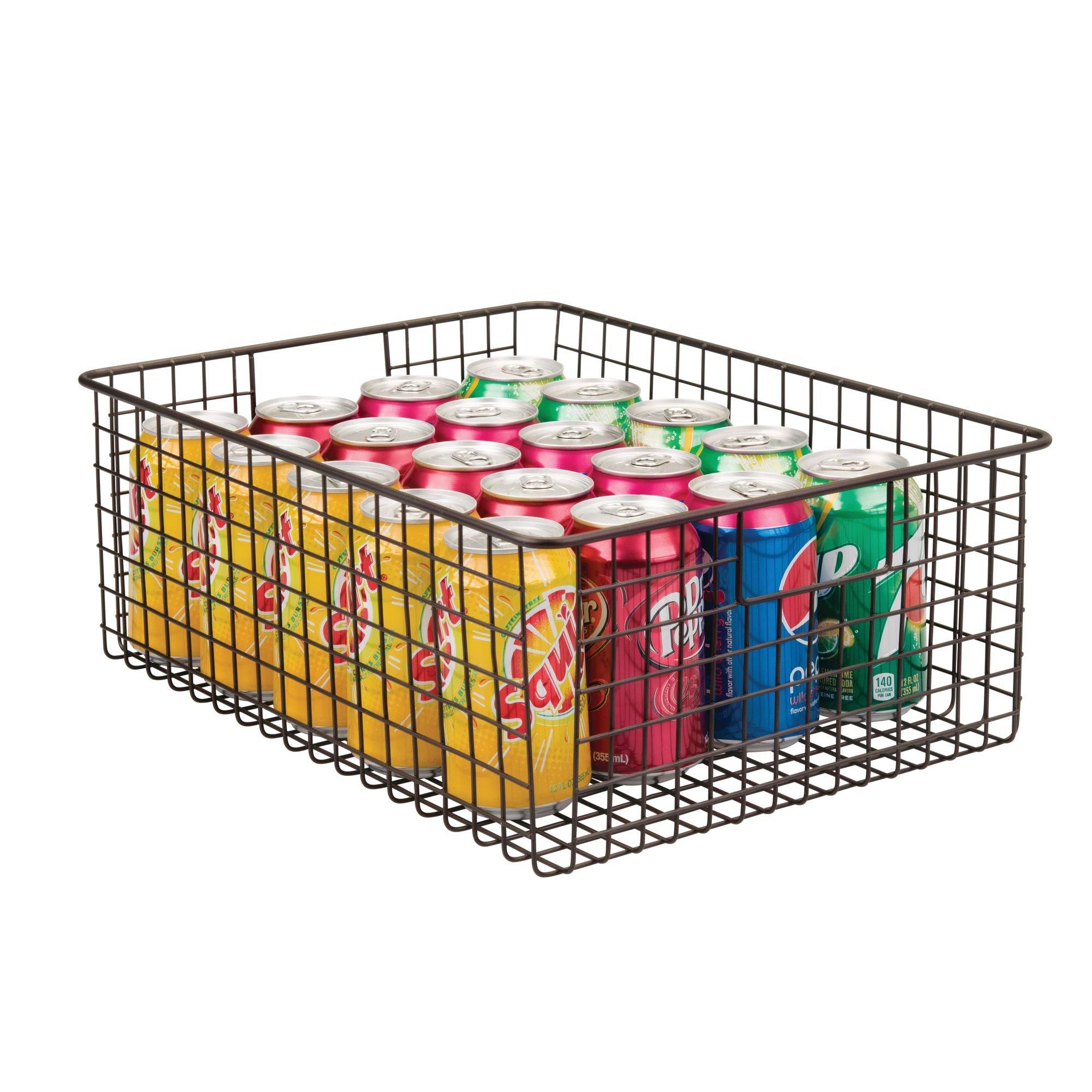 Organizadores de cocina compactos y universales con asas Vers/átil cesta de metal multiusos para cocina o despensa mDesign Juego de 4 cestos de alambre de metal color bronce