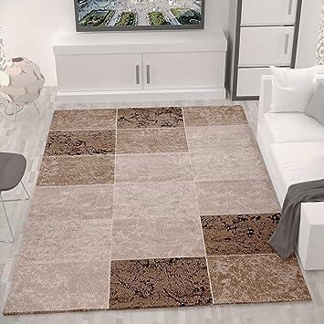 teppich wohnzimmer kurzflor modern meliert kariert marmor muster ... - Teppich Wohnzimmer Beige