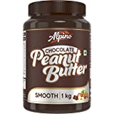 Alpino Chocolate Peanut Butter Smooth 1 KG | Made with Roasted Peanuts, Cocoa Powder & Choco Chips | 20% Protein | Non GMO |