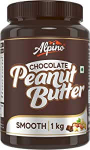 Alpino Chocolate Peanut Butter Smooth 1 KG | Made with Roasted Peanuts, Cocoa Powder & Choco Chips | 20% Protein | Non GMO | Gluten Free | Vegan