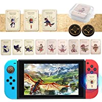 12PCS for Monster Hunter Stories 2 Wings of Ruin Amiibo Cards with 2PCS Thumb Grips, Mini Amiibo Cards Include ENA…