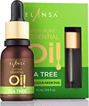 Elansa 100% Pure Tea Tree Essential Oil for Face, Skin, Hair, Acne and Dandruff 15ml