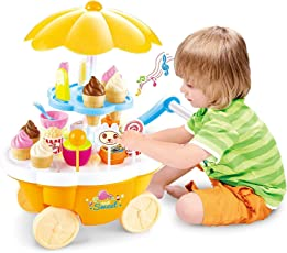 Kids Choice Pretend Toy Ice Cream Sweets Cart with Music Role Play Toys for Boys & Girls(KDC-Pretend Play Toy)