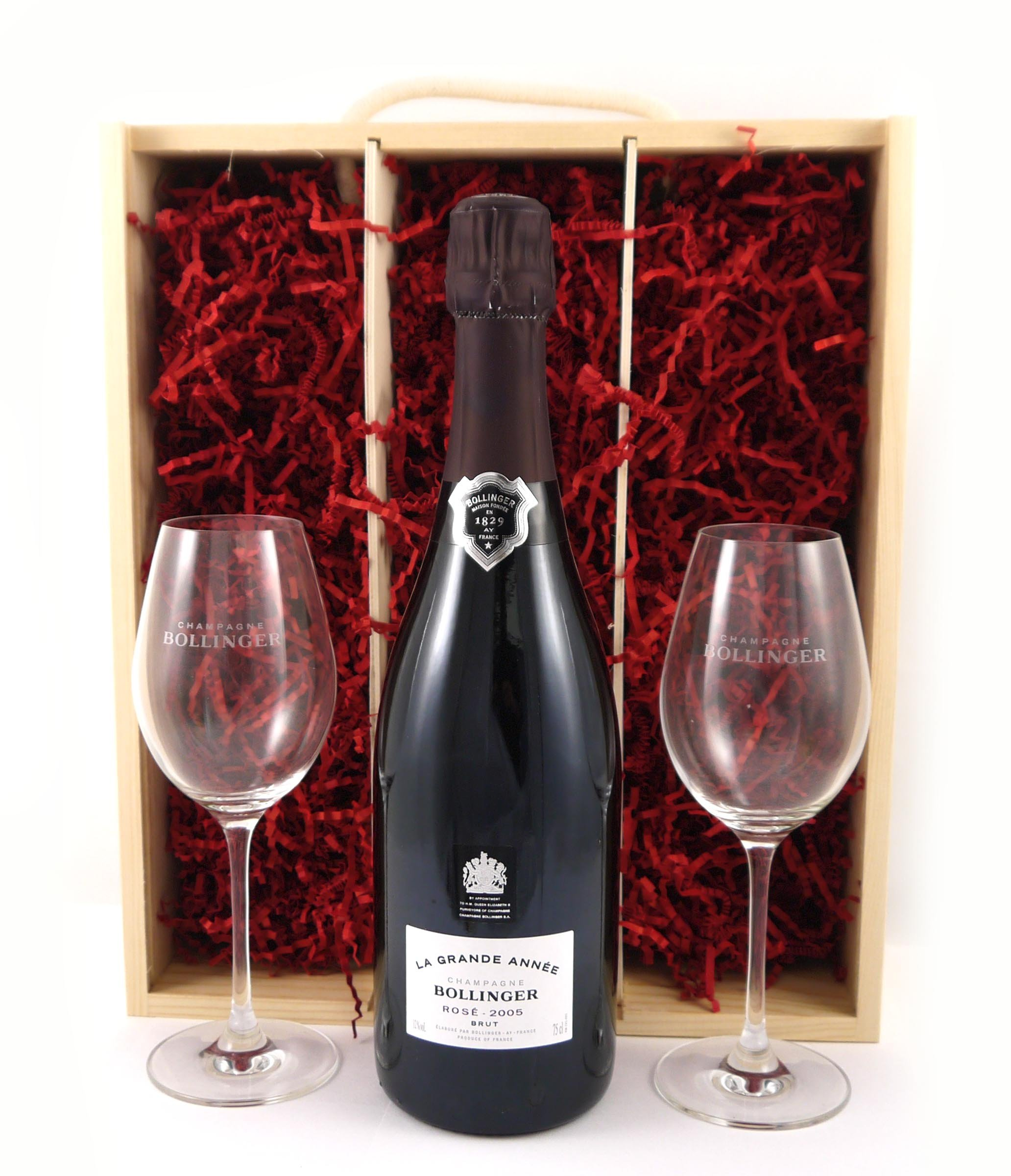 2005 Bollinger Rosé Grand Annee Vintage Champagne with Two Engraved Lehmann Rose Glasses in a wooden gift box