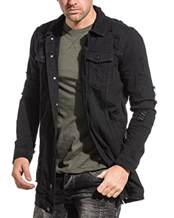 Blz Jeans Black Denim Jacket Destroy Oversize Amazon Co Uk Clothing