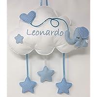 Fiocco nascita Nuvola Elefante - Dolce nuvola soffice con decorazioni a forma di stella e palloncino a cuoricino…